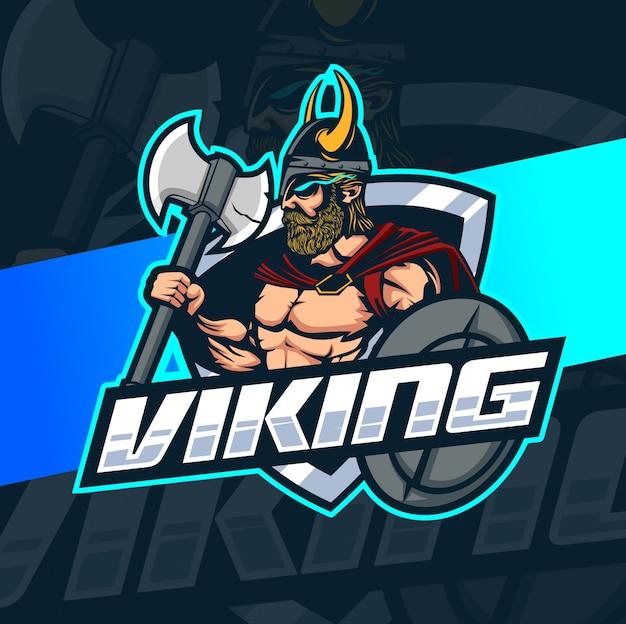 Viking mascotte esport logo ontwerp