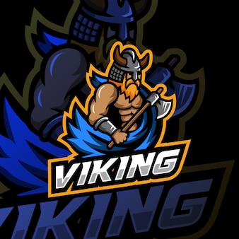 Viking mascotte logo esport illustratie