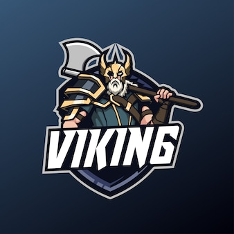 Viking-mascotte voor sport- en esports-logo