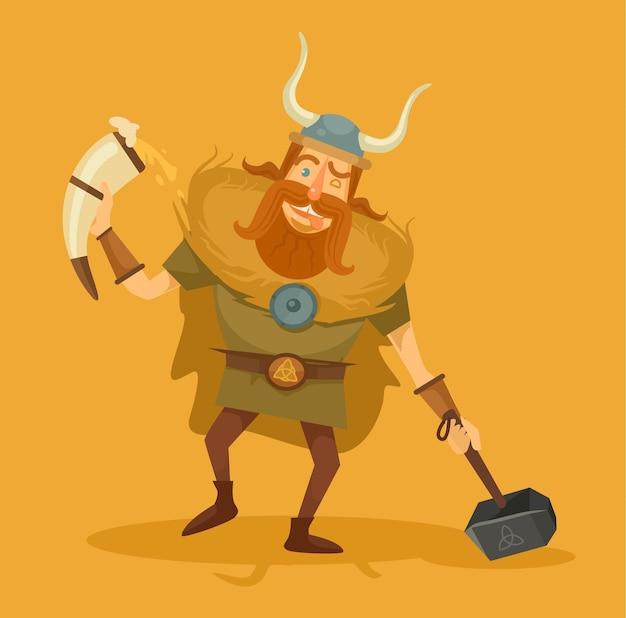 Viking met een biertje vlakke afbeelding