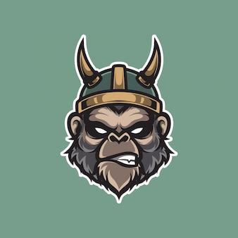 Viking monkey hoofd mascotte logo sjabloon