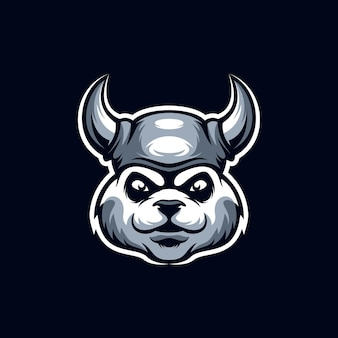 Viking panda mascotte logo geïsoleerd op blauw