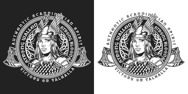 Viking rond vintage label in monochrome stijl met strijdbijlen en prachtige valkyrie in gevleugelde helm en metalen harnas