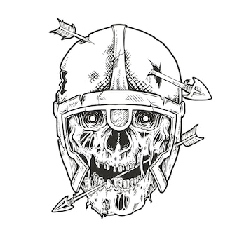 Viking schedel doorboord met pijl