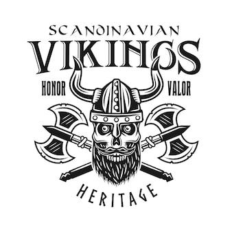 Viking schedel en gekruiste assen vector embleem, label, badge, logo of t-shirt print in zwart-wit stijl geïsoleerd op een witte achtergrond