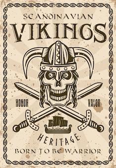 Viking schedel in gehoornde helm en twee gekruiste zwaarden vintage decoratieve poster vectorillustratie. gelaagde, gescheiden grunge-texturen en tekst