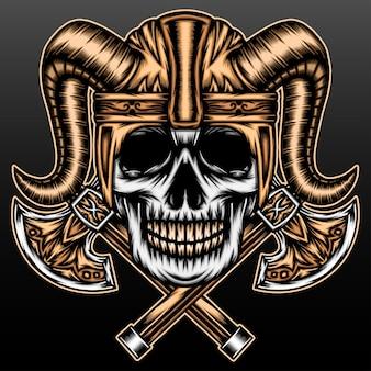 Viking-schedel met bijl geïsoleerd op zwart