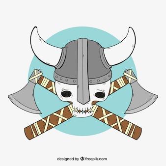 Viking schedel met bijlen achtergrond