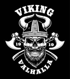 Viking-schedel met bijlen, nordic warrior. illustratie op donkere achtergrond. (tekst staat op de aparte groep)