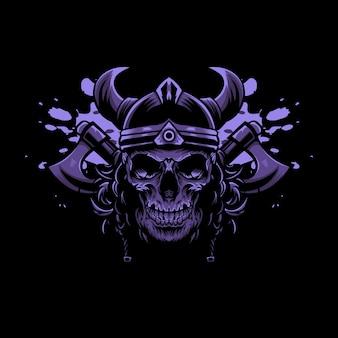 Viking-schedel met bijlen