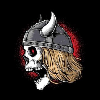 Viking-schedelstrijder met helm wearing