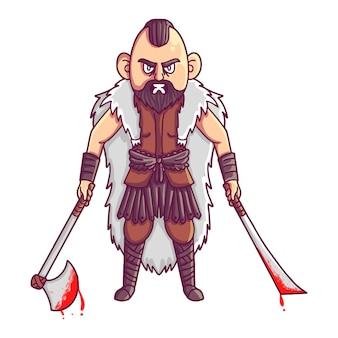 Viking-strijder met grote zwaarden