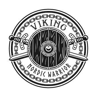 Viking vector embleem, label, badge, logo of t-shirt print met ronde schild en gekruiste zwaarden geïsoleerd op een witte achtergrond