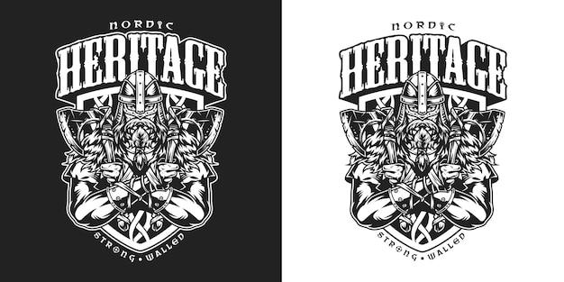 Viking vintage badge met serieuze sterke bebaarde scandinavische krijger met strijdbijlen in zwart-wit stijl