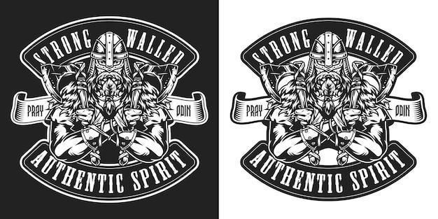 Viking vintage zwart-wit badge met middeleeuwse scandinavische krijger met strijdbijlen