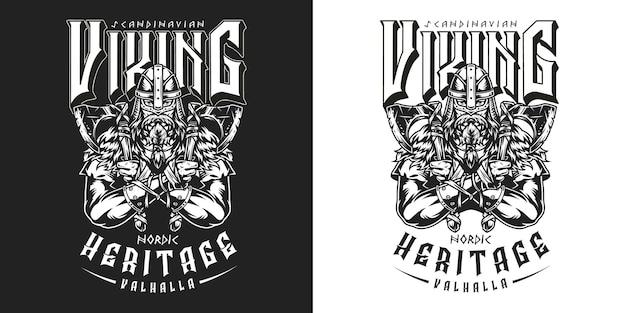 Viking vintage zwart-wit embleem met sterke bebaarde scandinavische krijger in helm met assen