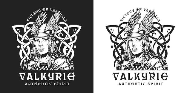 Viking vintage zwart-wit print met prachtige middeleeuwse nordic krijger vrouw in metalen harnas en gevleugelde helm op donkere en lichte achtergronden