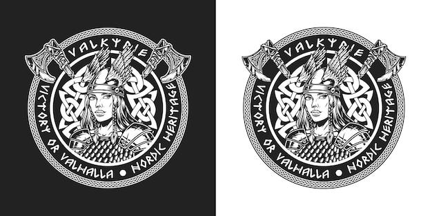 Viking vintage zwart-wit ronde badge met strijdbijlen en mooie scandinavische middeleeuwse vrouwelijke krijger in gevleugelde helm en metalen harnas