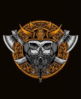 Viking wariorrs hoofd met bijl