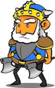 Viking warrior met bijlen