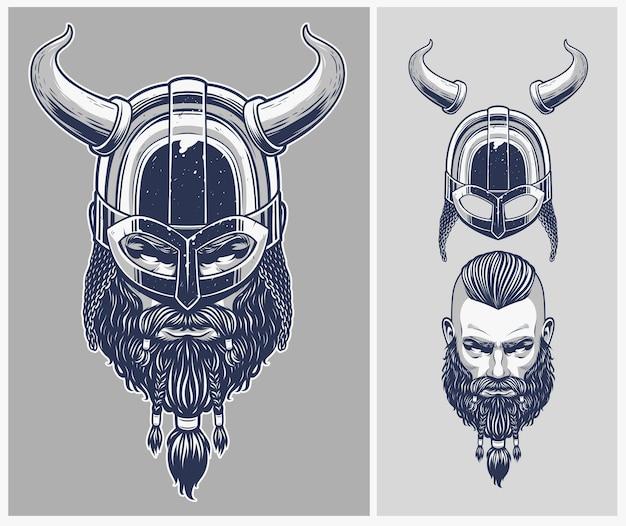 Viking warrior met optionele helm