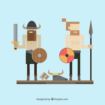 Vikingen in pixelstijl