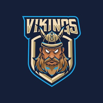 Vikingen mascotte logo ontwerp illustratie voor sport of e-sportteam