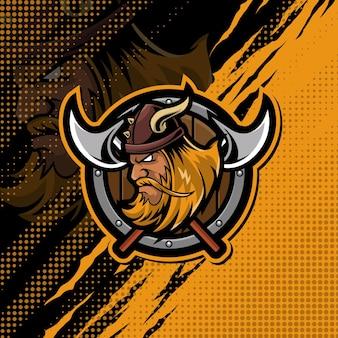Vikingen mascotte logo ontwerp illustratie