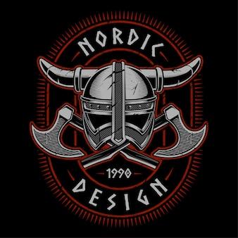 Vikinghelm met bijlen. illustratie op donkere achtergrond. alle elementen zijn gescheiden, tekst staat op de aparte laag.
