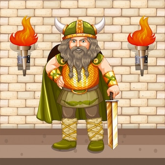Vikingkoning met gouden zwaard