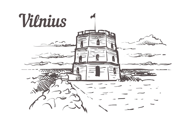 Vilnius, gediminastoren hand getrokken
