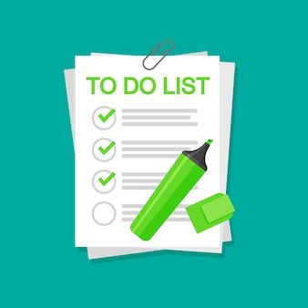 Viltstift zet een vinkje op de pagina's. om lijstconcept geïsoleerd te doen.
