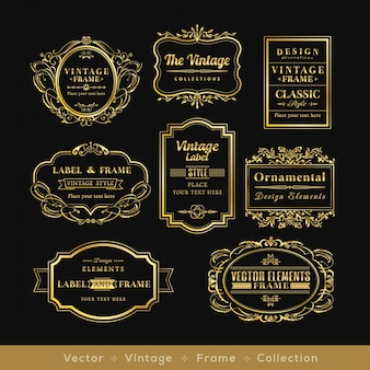 Vinage goud retro logo kader badge design elementen