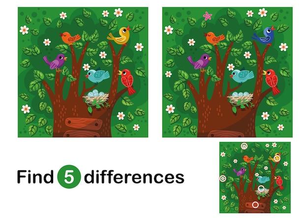 Vind 5 verschillen onderwijsspel voor kinderen kleurrijke cartoonvogels op de boom