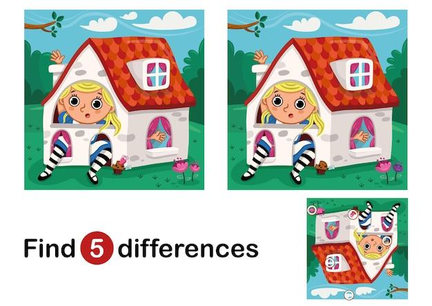 Vind 5 verschillen onderwijsspel voor kinderen vectorillustratie