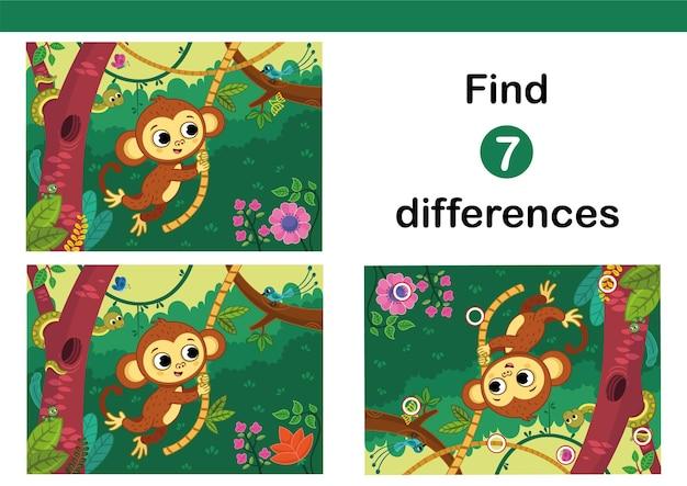 Vind 7 verschillen onderwijsspel voor kinderen met een schattige aap vectorillustratie