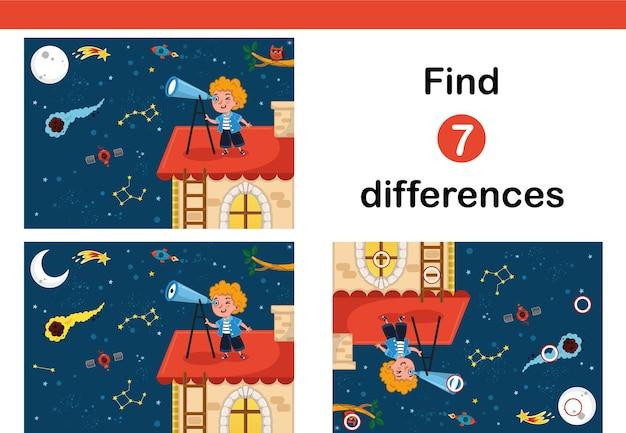 Vind 7 verschillen onderwijsspel voor kinderen wetenschap liefhebbend kind observeert de ruimte
