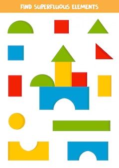 Vind de extra figuren van de toren. spel voor kinderen.