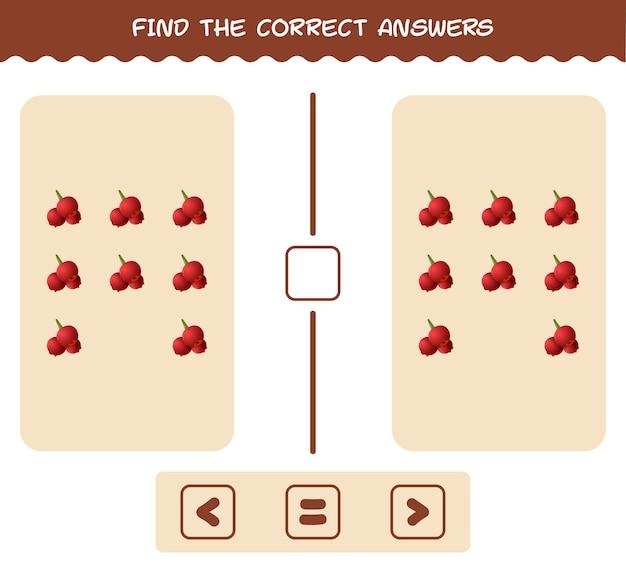 Vind de juiste antwoorden van cartoon cranberry. spel zoeken en tellen. educatief spel voor kleuters en kleuters