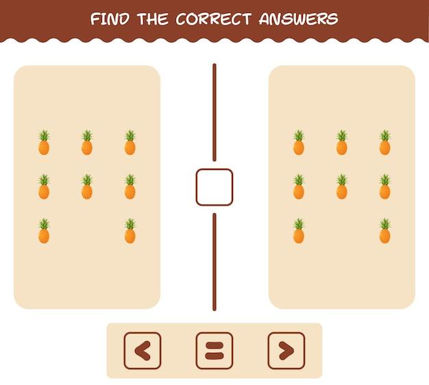 Vind de juiste antwoorden van cartoonananas. spel zoeken en tellen. educatief spel voor kleuters en kleuters
