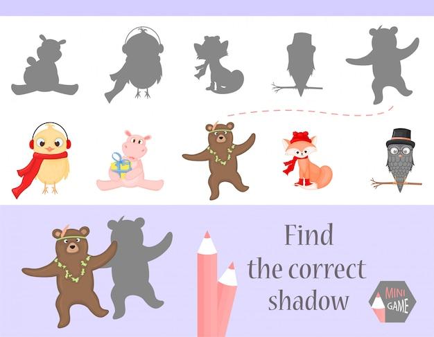Vind de juiste schaduw, educatief spel voor kinderen.