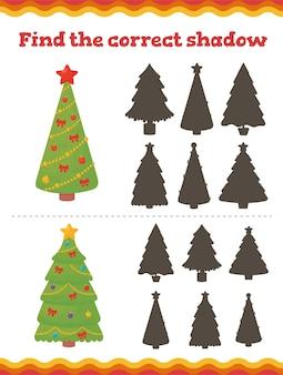 Vind de juiste schaduw educatieve spelletjes voor peuters. preschool of kleuterschool kerst werkblad.