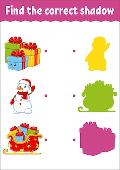 Vind de juiste schaduw. kerstthema. werkblad voor het ontwikkelen van onderwijs.