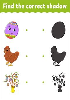 Vind de juiste schaduw. onderwijs ontwikkelen werkblad. bijpassende game voor kinderen.