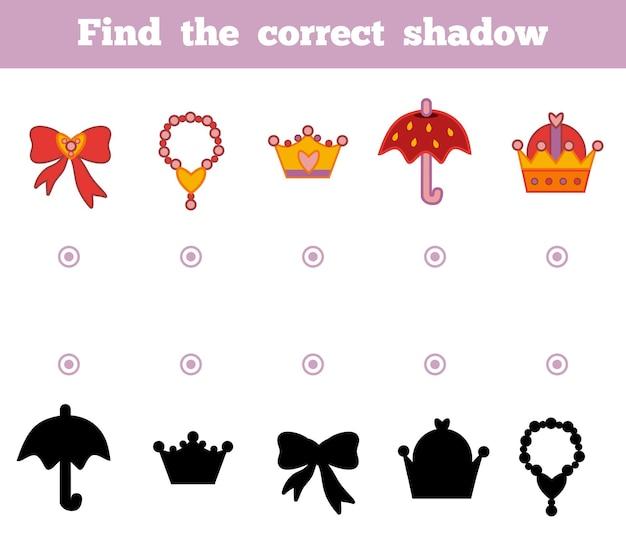 Vind de juiste schaduw, onderwijsspel voor kinderen. een set accessoires voor de prinses