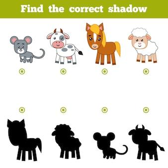 Vind de juiste schaduw, onderwijsspel voor kinderen. set cartoon boerderijdieren