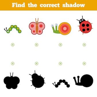 Vind de juiste schaduw, onderwijsspel voor kinderen. set cartoon insecten