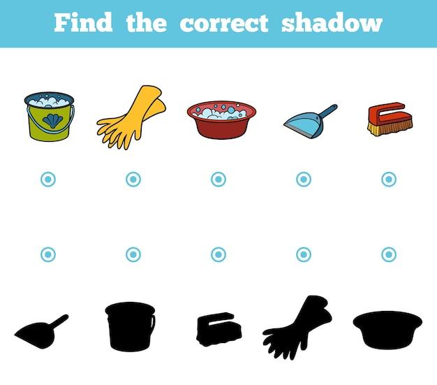 Vind de juiste schaduw, onderwijsspel voor kinderen. set objecten om te reinigen