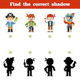 Vind de juiste schaduw, onderwijsspel voor kinderen. set van stripfiguren van piraten