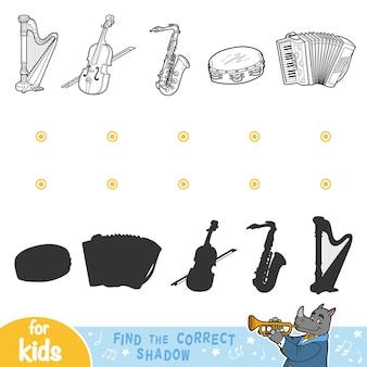 Vind de juiste schaduw, onderwijsspel voor kinderen. zwart-wit set muziekinstrumenten